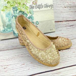 SO Blush Gold Sequin Espadrille Ballet Flats 8